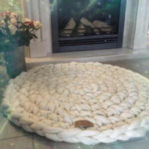 grof gehaakt vloerkleed merino wol